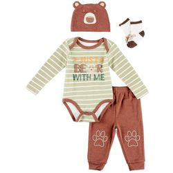 Weeplay Baby Boys 4-pc. Just Bear With Me Layette Set