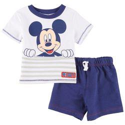Disney Mickey Mouse Baby Boys Striped Mickey Shorts Set