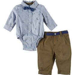 Little Lad Baby Boys 3-pc. Button Down Airplane Bodysuit Set
