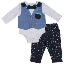 Little Lad Baby Boys 2-pc. Vest Bodysuit Set