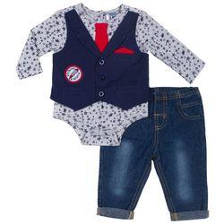 Little Lad Baby Boys Stars Mock Vest Bodysuit Set