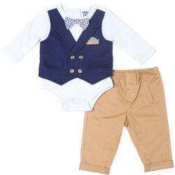 Little Lad Baby Boys Plaid Mock Vest Bodysuit Set