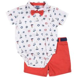 Little Lad Baby Boys 3-pc. Sailboat Short Set