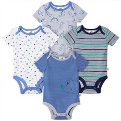 Just Born Baby Boys 4-pk. Organic Striped Dino Bodysuits