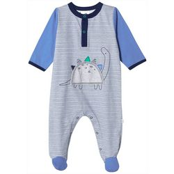 Just Born Baby Boys Organic Striped Dino Footie Pajamas