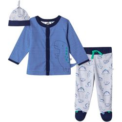 Just Born Baby Boys 3-pc. Organic Striped Dino Layette Set