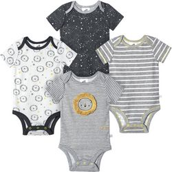 Just Born Baby Boys 4-pk. Organic Striped Lion Bodysuits