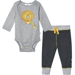 Just Born Baby Boys Organic Striped Lion Bodysuit Set