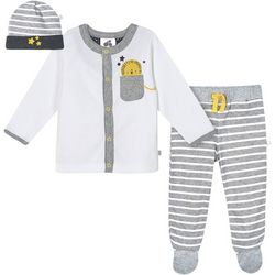 Just Born Baby Boys 3-pc. Organic Striped Lion Layette Set
