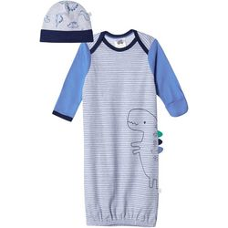 Just Born Baby Boys Dinosaur Gown and Hat