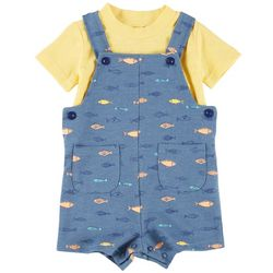 Sunshine Baby Baby Boys Fish Print Shortalls Set
