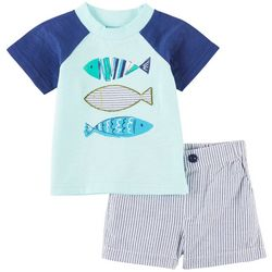 Sunshine Baby Baby Boys Fish Stripe Shorts Set