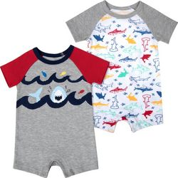 Sunshine Baby Baby Boys 2-pk. Shark Romper Set