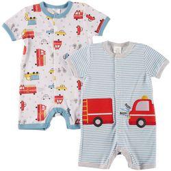 Little Beginnings Baby Boys 2-pk. Firetruck Rompers