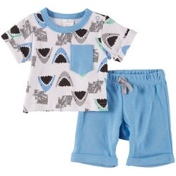 Little Beginnings Baby Boys 2-pc. Shark Short Set