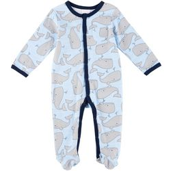 Laura Ashley Baby Boys Striped Whale Coverall