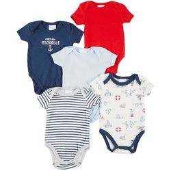Laura Ashley Baby Boys 5-pk. Captain Adorable Bodysuits