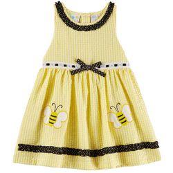 Samara Baby Girls Bumblebee Seersucker Ruffle Dress