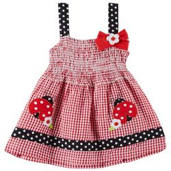 Samara Baby Girls Ladybug Seersucker Smocked Dress