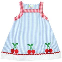 Samara Toddler Girls Checkered Cherry Embroidered Dress