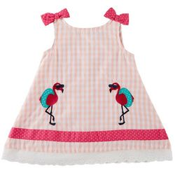 Samara Baby Girls Gingham Flamingo Eyelet Trim Dress