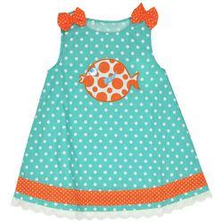 Samara Baby Girls Polka Dot Fish Embroidered Dress