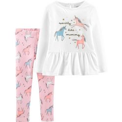 Carters Baby Girls Sparkly Like Mommy Unicorn Leggings Set