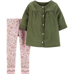Carters Baby Girls Button Up Floral Print Leggings Set