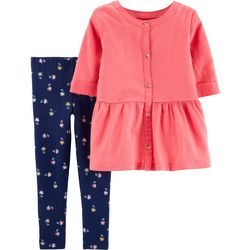 Carters Baby Girls Button Up Poppy Leggings Set