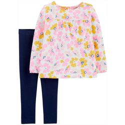 Carters Baby Girls Painted Floral Print Leggings Set