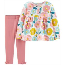 Carters Baby Girls Floral Rose Three-Button Leggings Set