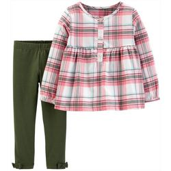 Carters Baby Girls Plaid Three-Button Leggings Set