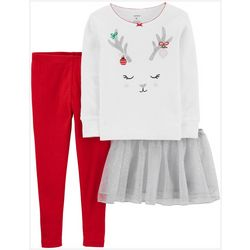 Carters Baby Girls 3-pc. Sparkly Reindeer Tutu Leggings Set