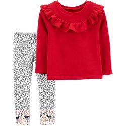 Carters Baby Girls 2-pc. Ruffle Reindeer Leggings Set