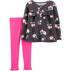 Carters Baby Girls Floral Print Ruffle Trim Leggings Set