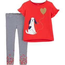 Carters Baby Girls Striped Dog Leggings Set