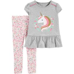 Carters Baby Girls Floral Unicorn Peplum Top & Leggings Set