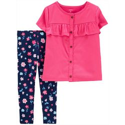Carters Baby Girls 2-pc. Sateen Top & Floral Leggings Set