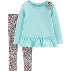 Carters Baby Girls Floral Bow Pants Set
