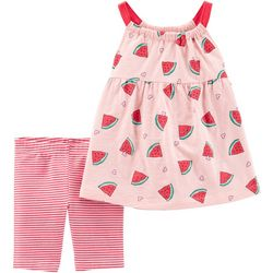 Carters Baby Girls Stripe Watermelon Shorts Set