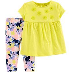 Carters Baby Girls Floral Embellished Leggings Set