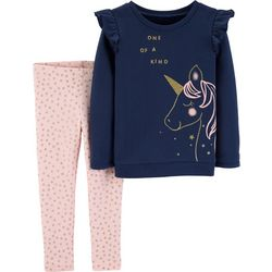 Carters Baby Girls One Of A Kind Unicorn Leggings Set