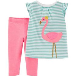 Carters Baby Girls Flamingo Stripes Capri Leggings Set