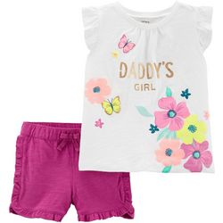 Carters Baby Girls Daddy's Girl Ruffle Shorts Set