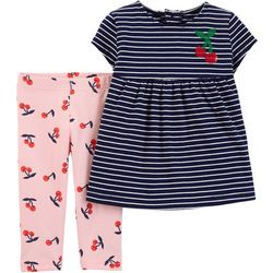 Carters Baby Girls Striped Cherry Print Leggings Set