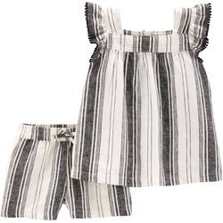 Carters Baby Girls Striped Pom Pom Shorts Set