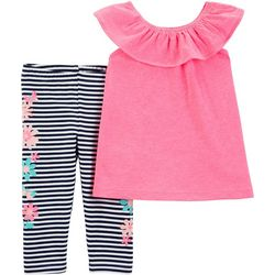 Carters Baby Girls Stripe Floral Leggings Set
