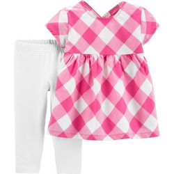 Carters Baby Girls Gingham Plaid Capri Leggings Set