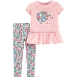 Carters Baby Girls Floral Hedgehog Peplum Leggings Set