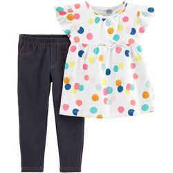 Carters Baby Girls Polka Dot Jeggings Set